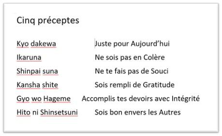5 préceptes Jikiden Reiki - Fédération des Femmes pour la Paix Mondiale